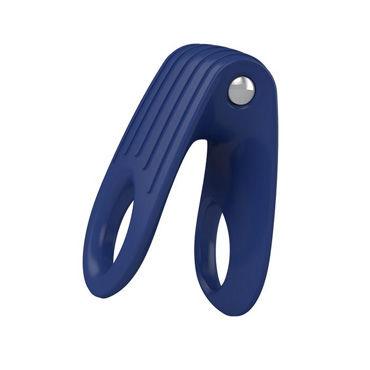 Ovo B12 Эрекционное кольцо, синее С виброэлементом, два отверстия для пениса