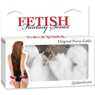 Pipedream Furry Cuffs, белые Наручники с мехом