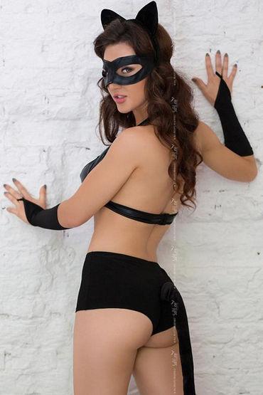 Soft Line костюм кошечки, черный Бюстгальтер, шортики, головной убор, маска и перчатки