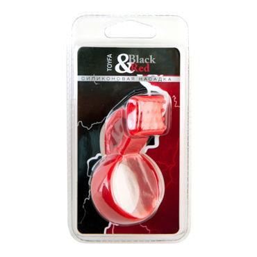 ToyFa Black&Red Насадка на пенис, красная С клиторальным стимулятором
