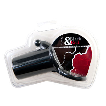 ToyFa Black&Red Насадка на пенис, черная, С клиторальным стимулятором и кольцом для мошонки