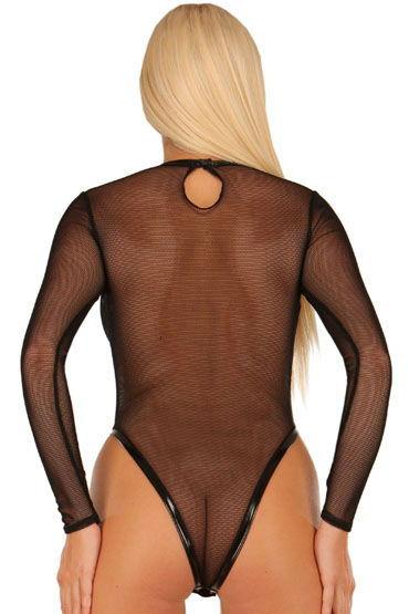 Ledapol боди-сетка, черное С виниловым кантом, высокие вырезы на бедрах