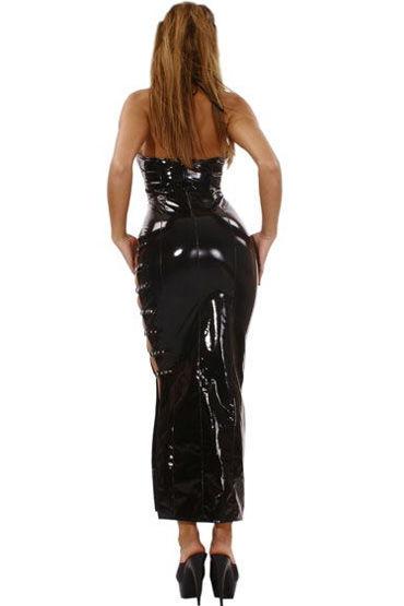 Ledapol платье, черное Длинное, с разрезом и ремешками сбоку