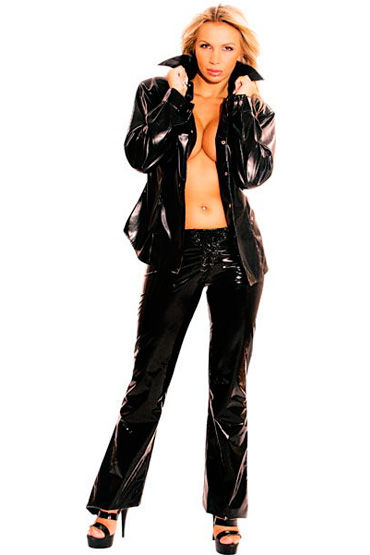 Ledapol брюки, черные, Со шнуровкой спереди, слегка расклешенные - Размер M