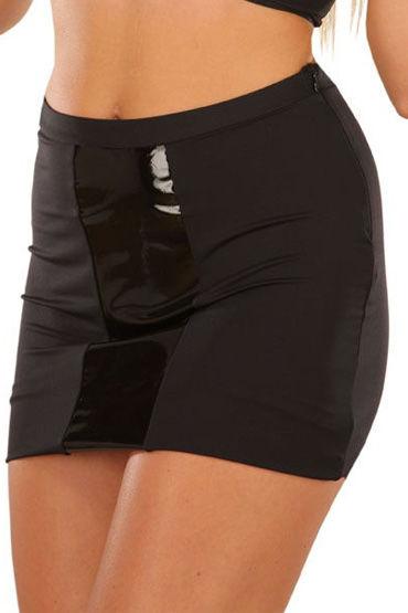 Ledapol юбка, черная С вертикальной виниловой вставкой, облегающая