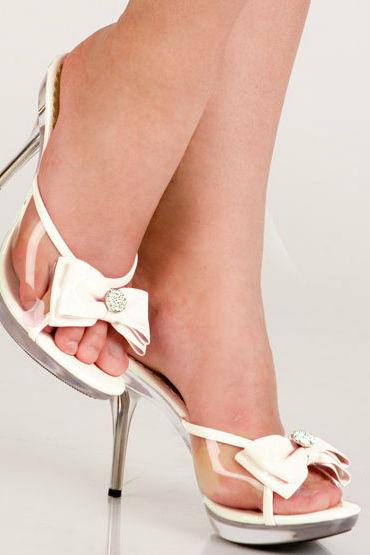 Erolanta туфли, белые С отстегивающимся лаковым бантом