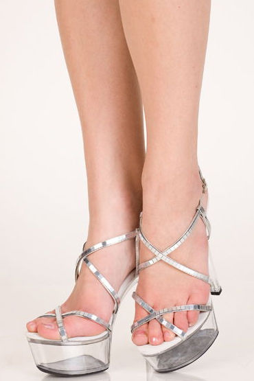 Erolanta туфли, серебристые С прозрачной платформой