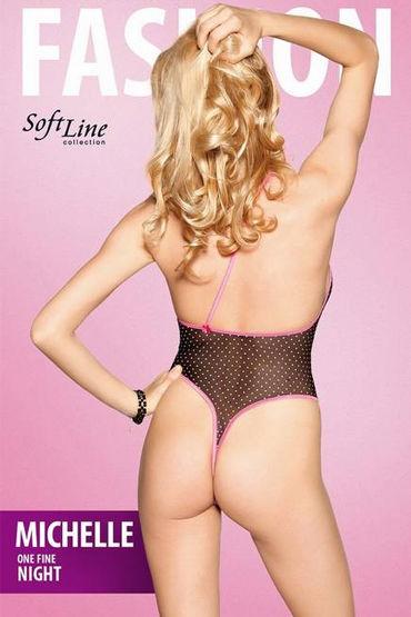 Soft Line Michelle, черно-розовый Полупрозрачное боди с вырезом спереди