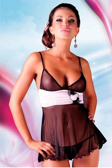 Soft Line комплект, черный Комбинация с белым пояском и стринги