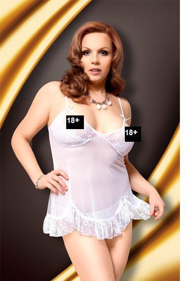 Soft Line комплект, белый, Кружевная сорочка и стринги - Размер XXXL