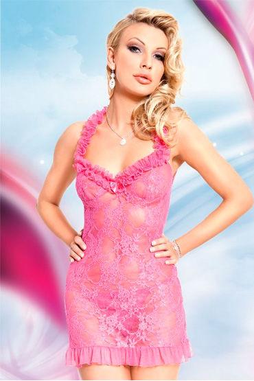Soft Line комплект, розовый, Кружевная комбинация и трусики - Размер M-L