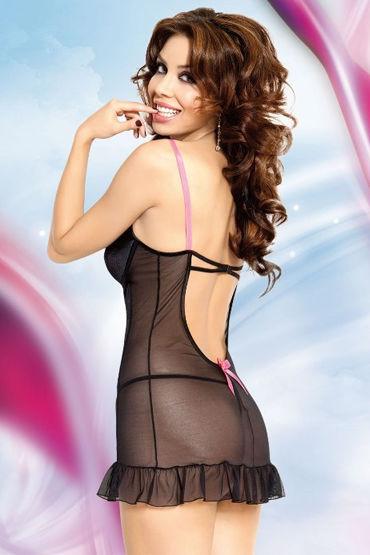 Soft Line Lizzy, черный Стринги и сорочка с розовыми бантиками