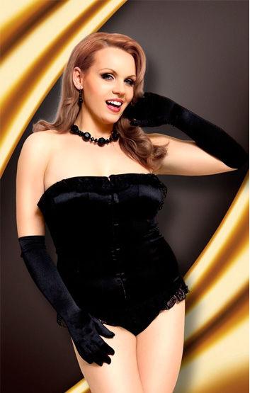 Soft Line комплект, черный, Стринги и корсет с кружевными оборками - Размер XL