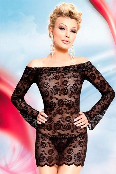 Soft Line Lamia, черный, Сорочка с длинными рукавами и стринги - Размер S-M
