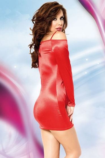 Soft Line Tyler, красный Платье с открытыми плечами, длинный рукав