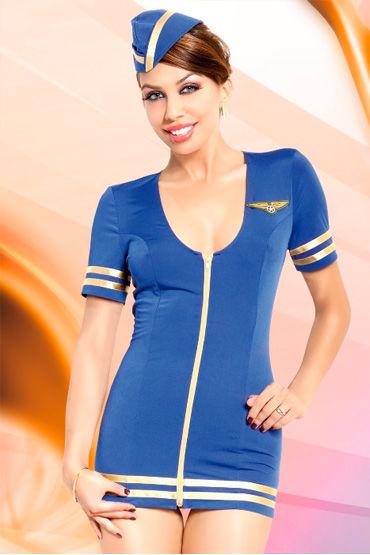 Soft Line Стюардесса, Платье с вырезом на спине и головной убор - Размер M-L от condom-shop.ru