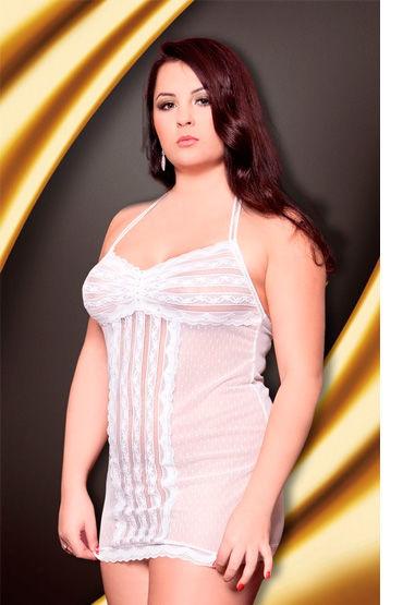 Soft Line сорочка, белая, На бретельках, в горошек - Размер XL