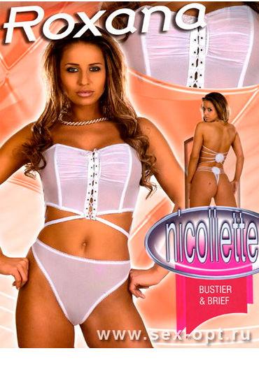 Roxana Николет, комплект, белый, Оригинальный покрой, на шнуровке - Размер M