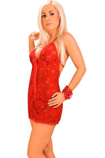 Roxana комплект, красный Кружевной, с большим бантом