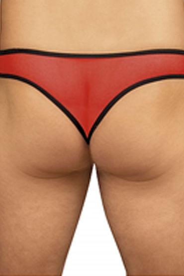 Roxana трусы мужские, черно-красные С прозрачной вставкой впереди, с аппликацией в виде краба