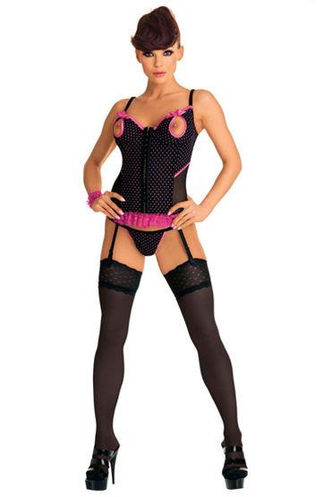 Roxana комплект, черный, Корсет с яркими рюшами и стринги - Размер L