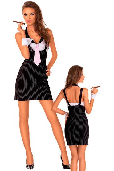 Roxana костюм ''Босс мафии'', черный В мелкую продольную полоску, на лямках