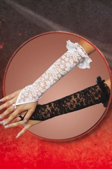 Soft Line перчатки, белые Кружевные, до локтя