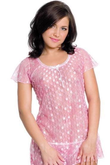 Erolanta комплект, розовый Прозрачная сорочка и стринги