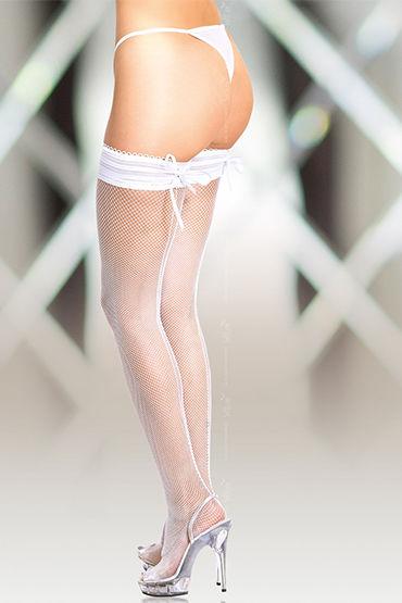 Soft Line чулки, белые Со швом и шнуровкой на резинке