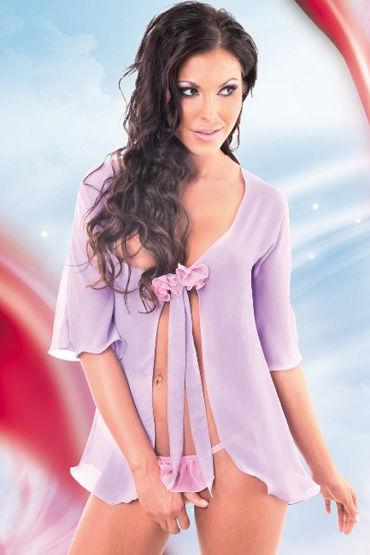 Soft Line комплект, фиолетовый, Очаровательный пеньюар и трусики - Размер M-L
