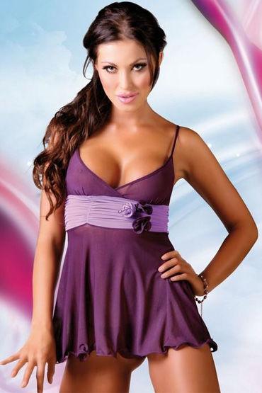 Soft Line комплект, фиолетовый, Комбинация с красивым пояском и стринги - Размер S-M