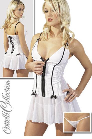 Cottelli Платье+стринги  белое На завязках сзади