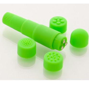 Sexus Funny Five вибратор, зеленый, Водонепроницаемый, с насадками