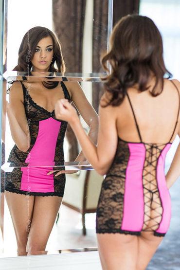 Soft Line комплект, черно-розовый Сорочка со шнуровкой сзади, стринги и перчатки