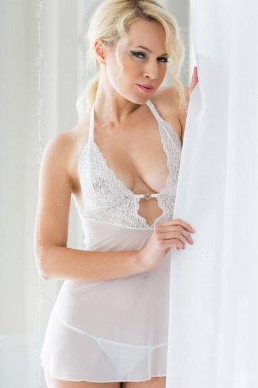 Soft Line комплект, белый, Сорочка с кружевным лифом и стринги - Размер S-M