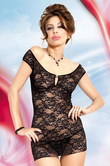 Soft Line комплект, черный, Стринги и сорочка с цветочным кружевом - Размер S-M