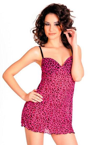Erolanta комплект, розовый, Леопардовая расцветка, плотные чашки - Размер Универсальный (XS-L)