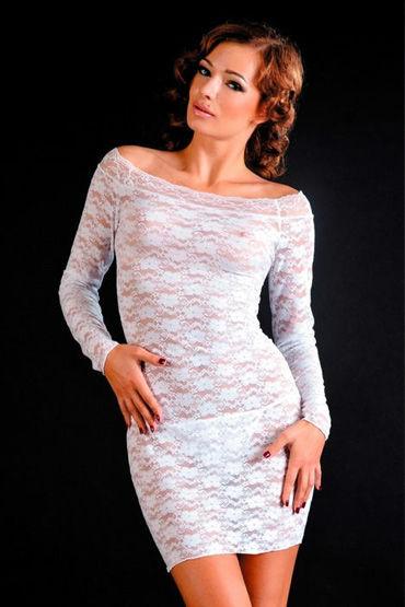 Erolanta платье и стринги, белые, С рукавами, кружевное - Размер Универсальный (XS-L)