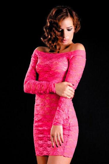 Erolanta платье и стринги, розовые, С рукавами, кружевное - Размер Универсальный (XS-L)