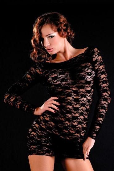 Erolanta платье и стринги, черные, С рукавами, кружевное - Размер Универсальный (XS-L)