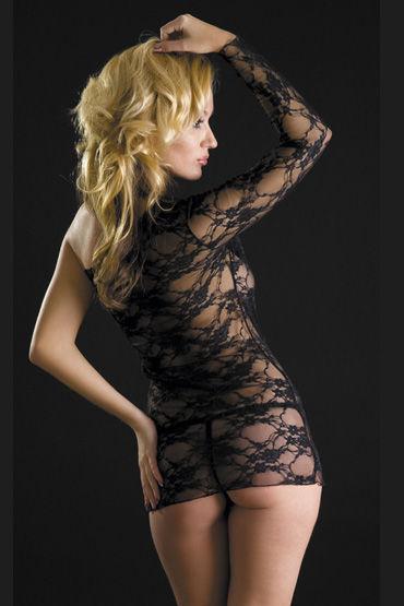 Erolanta платье и стринги, черные Кружевное, с открытым плечом