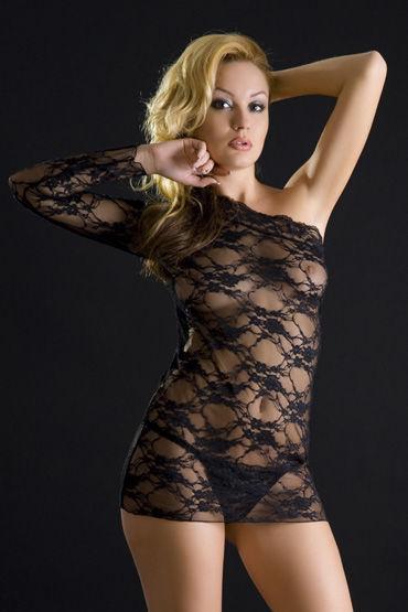 Erolanta платье и стринги, черные, Кружевное, с открытым плечом - Размер Универсальный (XS-L)