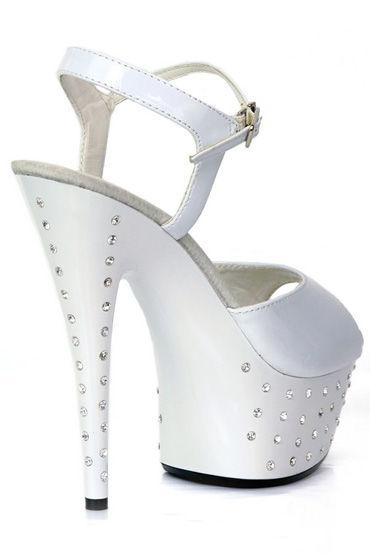 Erolanta туфли, белые Со стразами, на высокой платформе