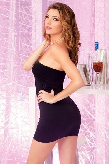 Pink Lipstick платье, черное Без бретелей, облегающее
