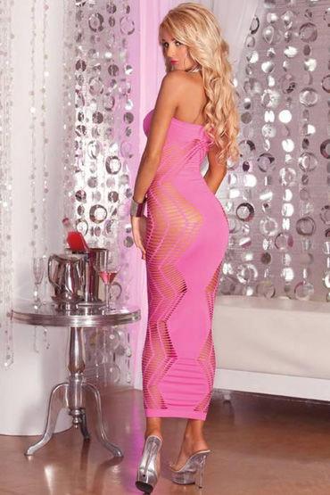 Pink Lipstick платье, розовое Длинное, сетчатое