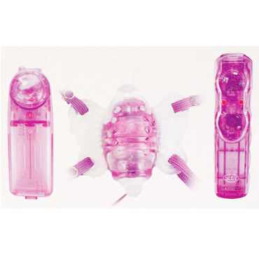 Toyfa Butterfly massage, вибробабочка, фиолетовая На ремешках, мультискоростная