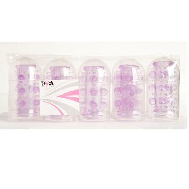 Toyfa набор насадок, фиолетовый 5 штук, с шипами и пупырышками