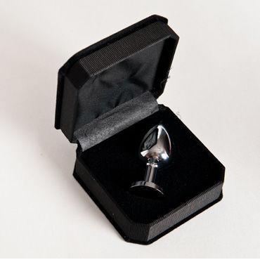 Toyfa втулка, 7 см, серебристая На подставке, с имитацией черного драгоценного камня