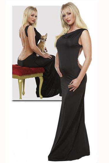 Cotelli платье, черное Длинное, с открытой до ягодиц спиной