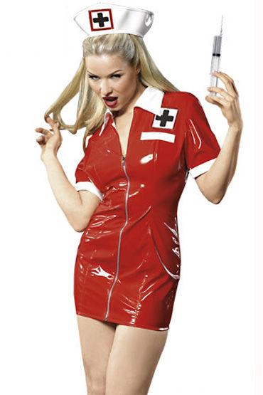 Cotelli костюм медсестры, красный Лакированный, впереди застежка-молния